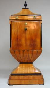 Biedermeier-3-Part-Fruitwood-Ebonized-Lacquer-Secretaire-a-Abattant-E-19th-C.
