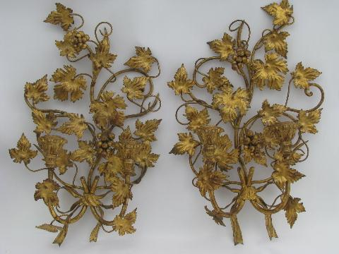 vintage-tole-wall-sconces-antique-gold-gilt-wood-candle-holders-Laurel-Leaf-Farm-item-no-k2243-1