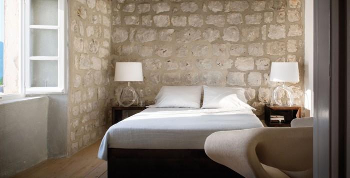 bedroom stone wall croatian croatia villa modern interior design cococozy