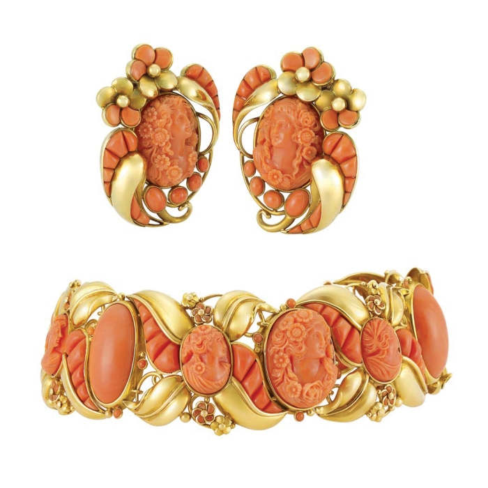 Lot-526-Gold-Coral-Cameo-and-Coral-Cuff-Bracelet-and-Pair-of-Clip-Brooches-Seaman-Schepps1