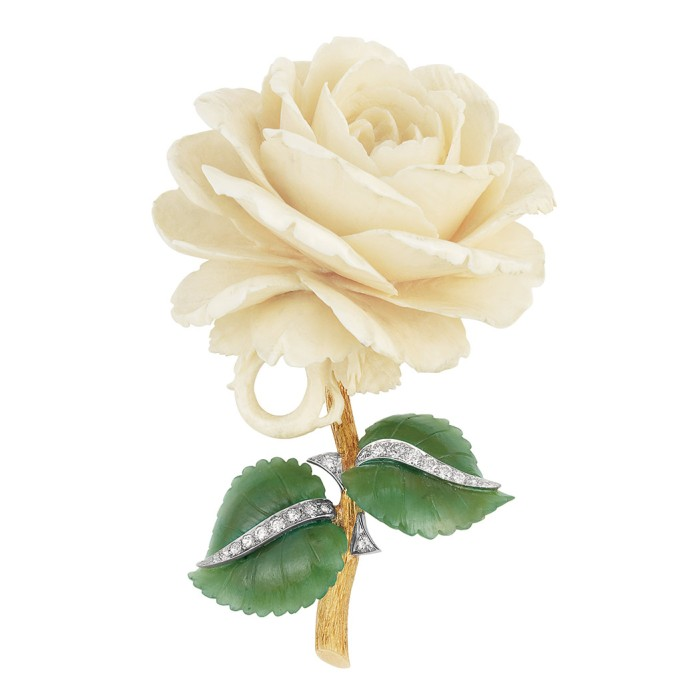 Lot-547-Gold-Platinum-Carved-Ivory-and-Nephrite-and-Diamond-Flower-Clip-Brooch1