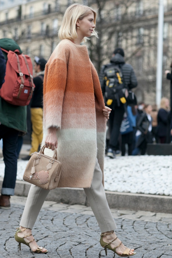 Elena-Perminova-showed-off-faded-stripes-luxe-furry-topper